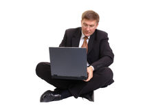 Homem de negócios com portátil Imagem de Stock