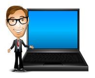 Homem de negócios com portátil ilustração royalty free