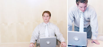 Homem de negócios com portátil Foto de Stock Royalty Free