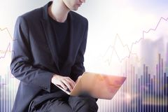 Homem de negócios com portátil e carta financeira Imagem de Stock