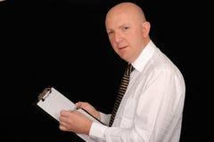 Homem de negócios com prancheta Imagem de Stock Royalty Free