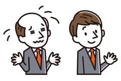 Homem de negócios com problema da calvície ilustração do vetor