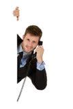 Homem de negócios com receptor de telefone. imagens de stock