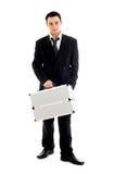 Homem de negócios com recipiente #2 do metal Foto de Stock Royalty Free