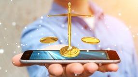 Homem de negócios com rendição das escalas de peso 3D de justiça Foto de Stock Royalty Free
