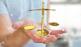Homem de negócios com rendição das escalas de peso 3D de justiça Imagem de Stock Royalty Free