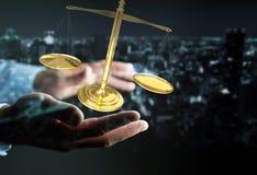 Homem de negócios com rendição das escalas de peso 3D de justiça Fotos de Stock