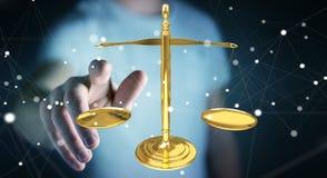 Homem de negócios com rendição das escalas de peso 3D de justiça Fotos de Stock Royalty Free