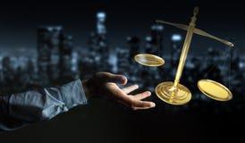 Homem de negócios com rendição das escalas de peso 3D de justiça Fotografia de Stock