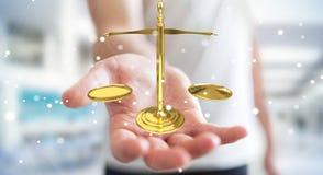 Homem de negócios com rendição das escalas de peso 3D de justiça Imagens de Stock Royalty Free