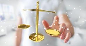 Homem de negócios com rendição das escalas de peso 3D de justiça Fotografia de Stock Royalty Free