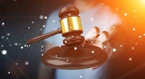 Homem de negócios com rendição do martelo 3D de justiça Imagem de Stock Royalty Free