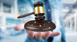 Homem de negócios com rendição do martelo 3D de justiça Fotografia de Stock