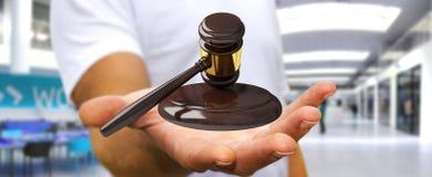 Homem de negócios com rendição do martelo 3D de justiça Foto de Stock Royalty Free