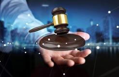 Homem de negócios com rendição do martelo 3D de justiça Imagens de Stock Royalty Free