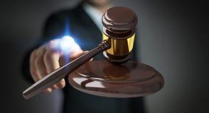 Homem de negócios com rendição do martelo 3D de justiça Imagens de Stock