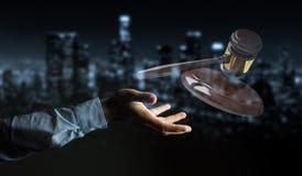 Homem de negócios com rendição do martelo 3D de justiça Fotos de Stock Royalty Free