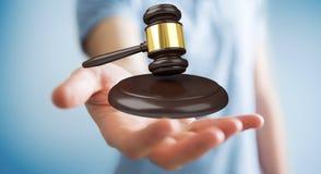 Homem de negócios com rendição do martelo 3D de justiça Fotografia de Stock Royalty Free