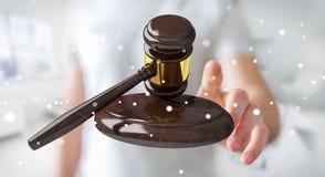 Homem de negócios com rendição do martelo 3D de justiça Fotos de Stock