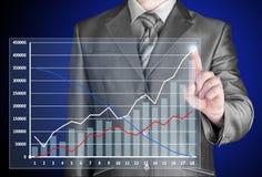 Homem de negócios com símbolos financeiros Fotografia de Stock Royalty Free