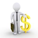 Homem de negócios com sinal de dólar Imagens de Stock Royalty Free