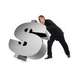 Homem de negócios com sinal de dólar 3d Imagens de Stock