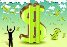 Homem de negócios com sinal do verde do dólar Ilustração Stock