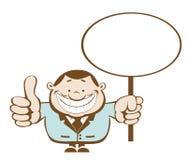 Homem de negócios com sinal em branco. Camadas separadas Imagens de Stock Royalty Free