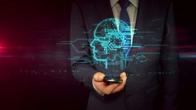Homem de negócios com smartphone e conceito principal do holograma do sinal do cyber vídeos de arquivo