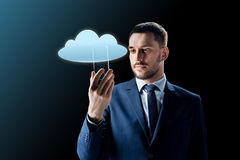 Homem de negócios com smartphone transparente Imagens de Stock