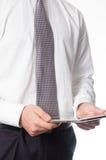 Homem de negócios com tabuleta Fotografia de Stock