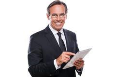Homem de negócios com tabuleta digital Imagem de Stock Royalty Free