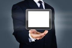 Homem de negócios com tabuleta digital Fotos de Stock