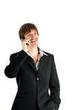 Homem de negócios com telefone Imagens de Stock