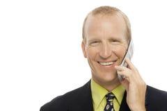 Homem de negócios com telefone de pilha fotos de stock royalty free