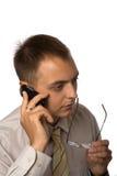 Homem de negócios com telefone móvel Fotos de Stock