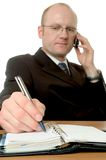 Homem de negócios com telemóvel foto de stock