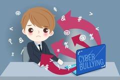 Homem de negócios com tiranizar do cyber ilustração royalty free