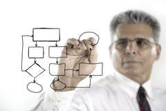 Homem de negócios com um diagrama vazio Foto de Stock Royalty Free