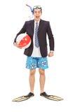 Homem de negócios com um equipamento de mergulho Imagem de Stock Royalty Free