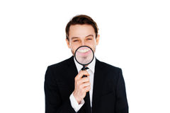 Homem de negócios com um sorriso ampliado Imagens de Stock Royalty Free