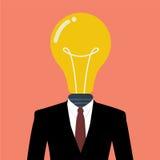 Homem de negócios com uma ampola em vez da cabeça Fotos de Stock Royalty Free