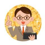 Homem de negócios com uma bolsa ilustração royalty free