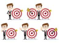 Homem de negócios com uma placa de dardo com uma batida direta no alvo ilustração stock