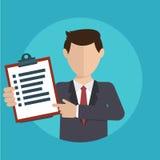 Homem de negócios com uma tarefa, mostrando a tarefa e analítico Foto de Stock Royalty Free