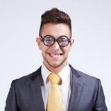 Homem de negócios com vidros engraçados Foto de Stock Royalty Free