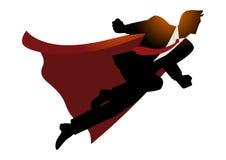 Homem de negócios como o super-herói que voa rapidamente ilustração stock