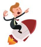 Homem de negócios completo da impulsionar para a frente no personagem de banda desenhada da ilustração do foguete ilustração stock