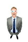 Homem de negócios completo do comprimento que veste os vidros 3d Foto de Stock Royalty Free