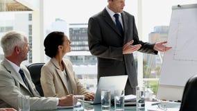 Homem de negócios confiável que dá a apresentação video estoque